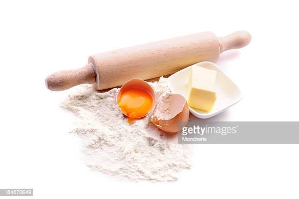 Baking ingredients on white