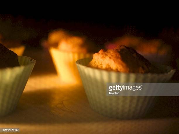 Baking muffins in an oven
