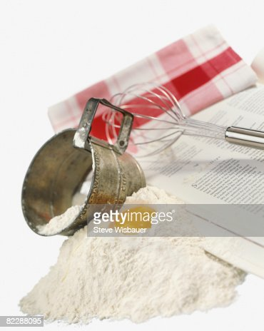 Baking tools and ingredients, egg, flower, whisk : Stock Photo