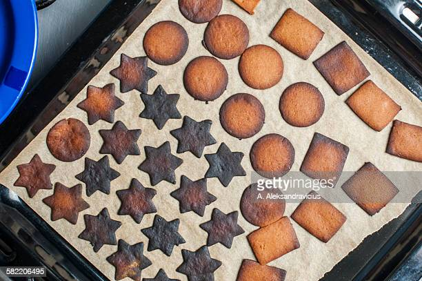 Baking tray with burnt gingerbread cookies