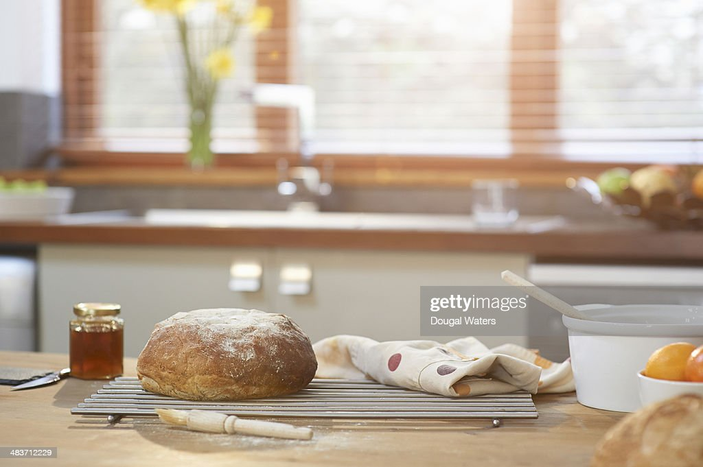 Baking utensils and bread in kitchen stock photo getty images