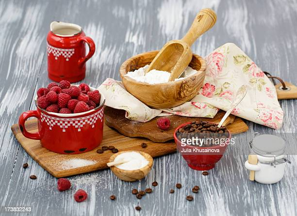 Baking with sweet raspberry and coffee beans