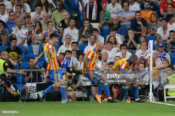 Bakkali #16 of Valencia CF scores to make it 12 during the La Liga match between Real Madrid CF v Valencia at Santiago Bernabeu on August 27 2017 in...