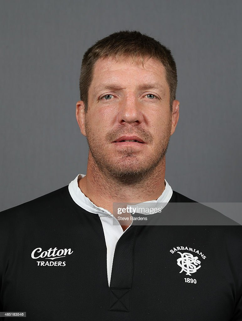 <a gi-track='captionPersonalityLinkClicked' href=/galleries/search?phrase=Bakkies+Botha&family=editorial&specificpeople=227062 ng-click='$event.stopPropagation()'>Bakkies Botha</a> of the Barbarians poses for a portrait during the Barbarians photocall at the Westbury Hotel on August 25, 2015 in London, England.