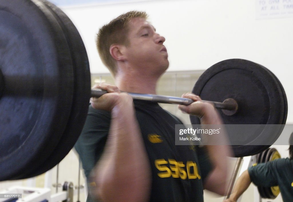 <a gi-track='captionPersonalityLinkClicked' href=/galleries/search?phrase=Bakkies+Botha&family=editorial&specificpeople=227062 ng-click='$event.stopPropagation()'>Bakkies Botha</a> of the South African Springboks rugby team undertakes a gym session at the Harborn Diggers Club July 01, 2005 in Sydney, Australia.
