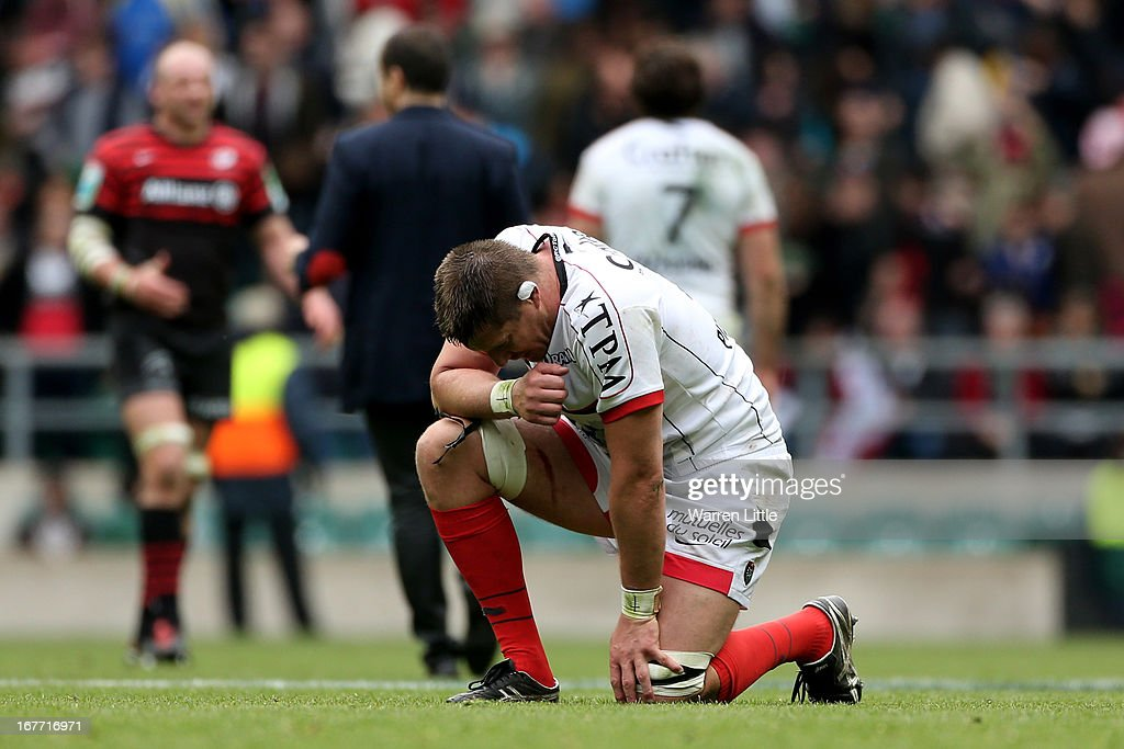 Bakkies Botha of Toulon reacts following his team's 24-12 victory during the Heineken Cup semi final between Saracens and Toulon at Twickenham Stadium on April 28, 2013 in London, United Kingdom.
