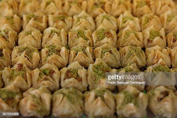 Baklava are on sale at a sweets shop before the Friday prayer near Madrid's Islamic Cultural Center on January 30 2015 in Madrid Spain More than 17...
