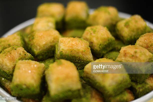 Baklava pastries are seen at a pastry shop on December 19 2013 in Istanbul While Turkey has vainly clamoured for years to join the European Union a...