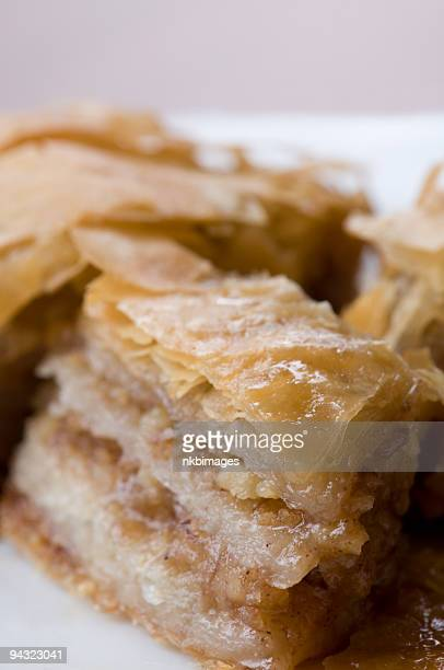 Baklava pastry dessert close up