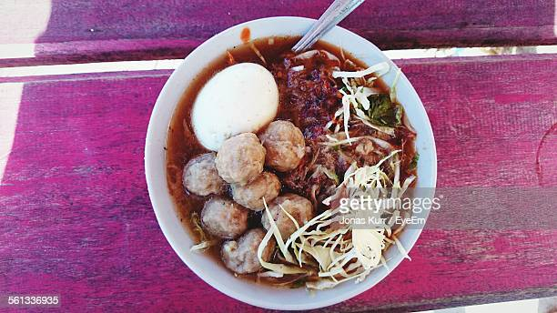 Bakso Served In Bowl On Table
