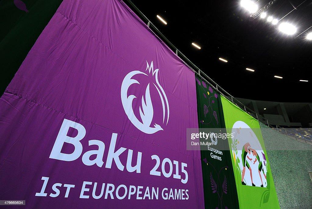 Baku 2015 banners are displayed inside the Heydar Aliyev Arena ahead of Baku 2015 the first European Games on June 11 2015 in Baku Azerbaijan