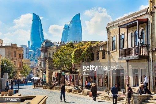 Baku Azerbaijan inner city cityscape, Flame Towers skyscrapers skyline