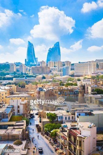 Baku Azerbaijan Skyline Cityscape with modern architecture Flame Towers skyscrapers