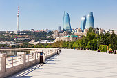 Baku boulevard at the Caspian Sea embankment. Baku is the capital and largest city of Azerbaijan.