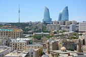 Baku (Azerbaijan) skyline viewed from the Maiden Tower