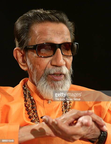 Bal Thackeray Shiv Sena Chief on the sets of Seedhi Baat a popular TV show aired on Aaj Tak in Mumbai Maharashtra India