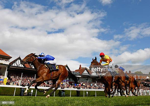 Balaagha ridden by Richard Hills wins the Charles Rodgers Cheshire Regiment Maiden Fillies' Stakes at Chester Racecourse on May 8 2009 in Chester...