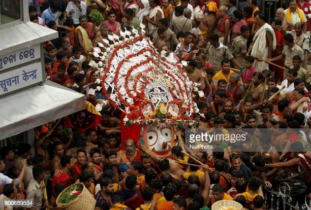 Balabhadra Brother of Lord Jagannath comes out from the Shree Jagannath temple in the chariot riding procession on the occassion of their annual...