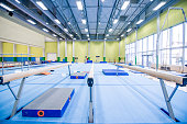 Balance Beams in Empty Gymnastics Gym.