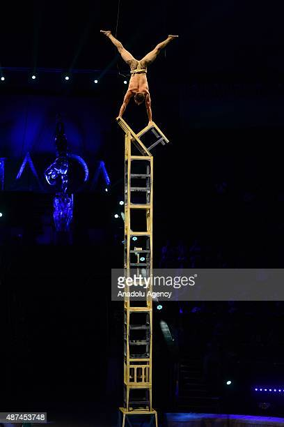 Balance on the chairs led by Zhang Gongli of China perform during the World Festival of Circus Art IDOL in Moscow Russia on September 09 2015 From...