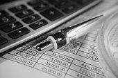 Home Finance, Calculator, Ball Pen, Amount