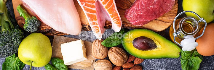 Balanced diet. Ketogenic low carbs products : Stock Photo