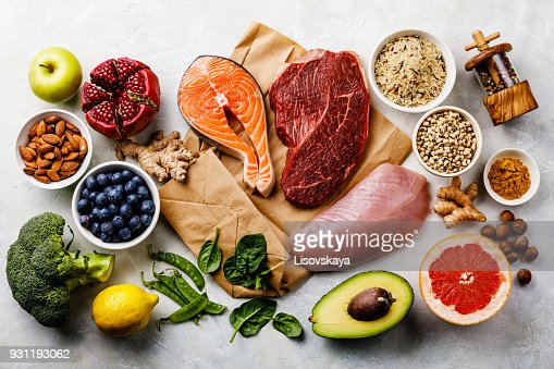Balanced diet Organic Healthy food Clean eating selection Including Certain Protein Prevents Cancer : Stock Photo