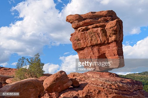 Balanced Rock Garden Of The Gods Red Sandstone Rocks Colorado Springs Colorado Usa Stock Photo