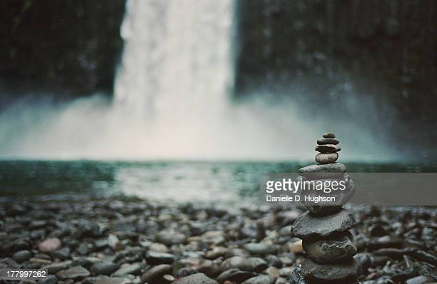 Balanced Rock Pile At Waterfall