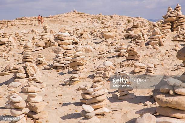 Balanced stones on the beach in Formentera island