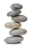 Balanced stones isolated on white background