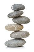 Balanced stones isolated on white background