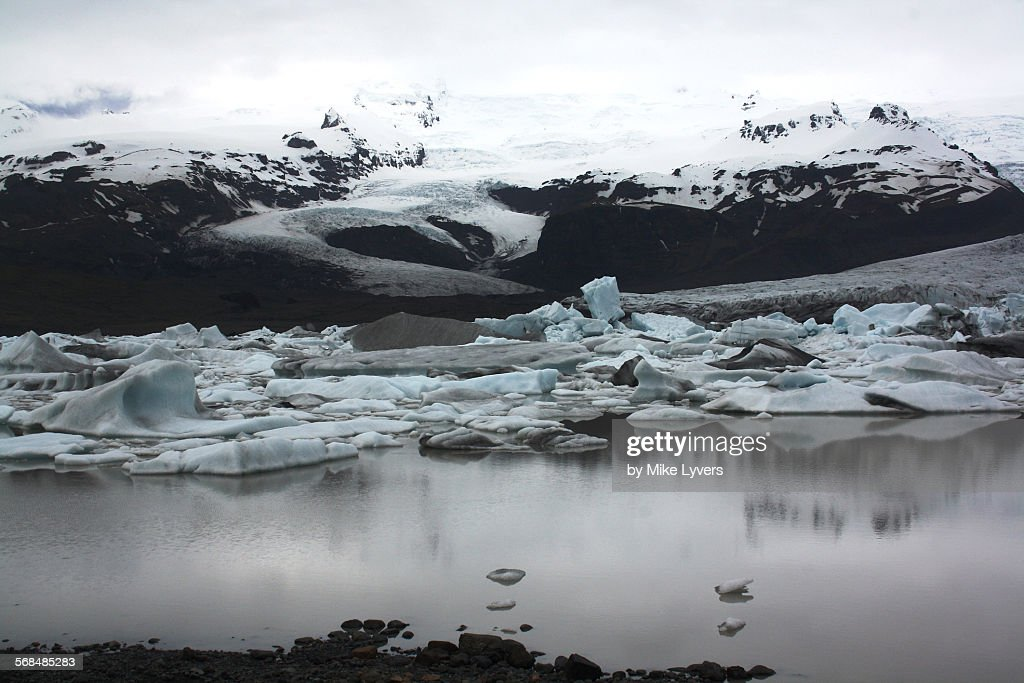 Balancing iceberg, glacier lagoon