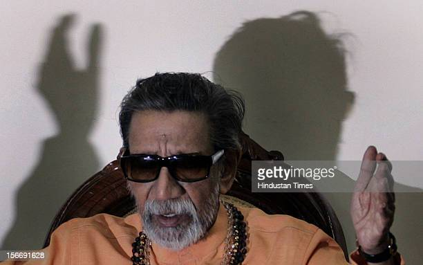 Balasaheb Thackeray speaks during the press conference at his Kala nagar's residence on February 21 2007 in Mumbai India