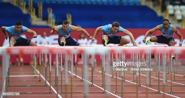 Balazs Baji of Hungary and Sergey Shubenkov in action in the Mens 110m hurdles during the Muller Grand Prix and IAAF Diamond League event at...