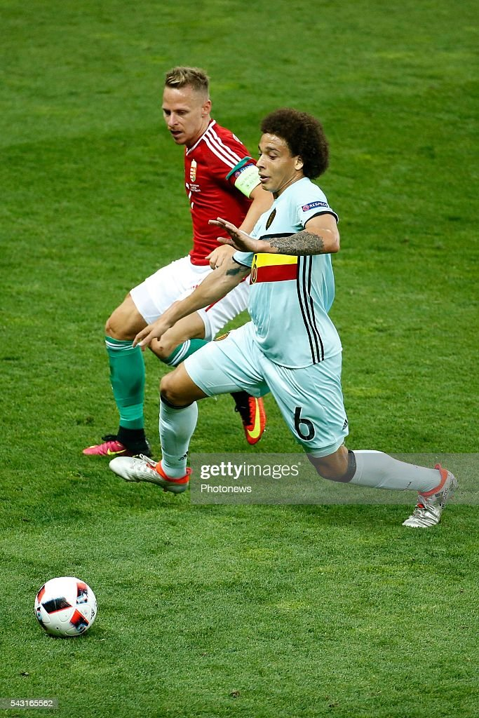 Balazs Dzsudzsak forward of Hungary and Axel Witsel midfielder of Belgium during the UEFA EURO 2016 Round of 16 match between Hungary and Belgium at the Stadium Toulouse on June 26, 2016 in Toulouse, France ,
