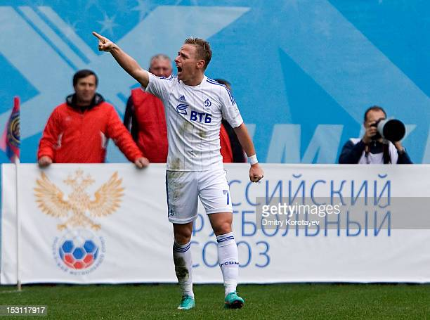 Balazs Dzsudzsak of FC Dynamo Moscow celebrates after scoring a goal during the Russian Premier League match between PFC CSKA Moscow and FC Dynamo...