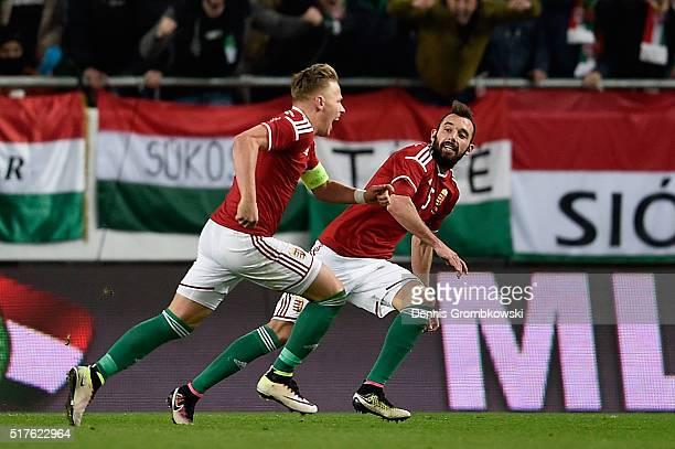 Balazs Dzsudzsak of Hungary celebrates as he scores their first goal during the International Friendly match between Hungary and Croatia at Groupama...