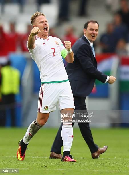 Balazs Dzsudzsak of Hungary celebrates his team's win after the UEFA EURO 2016 Group F match between Austria and Hungary at Stade Matmut Atlantique...