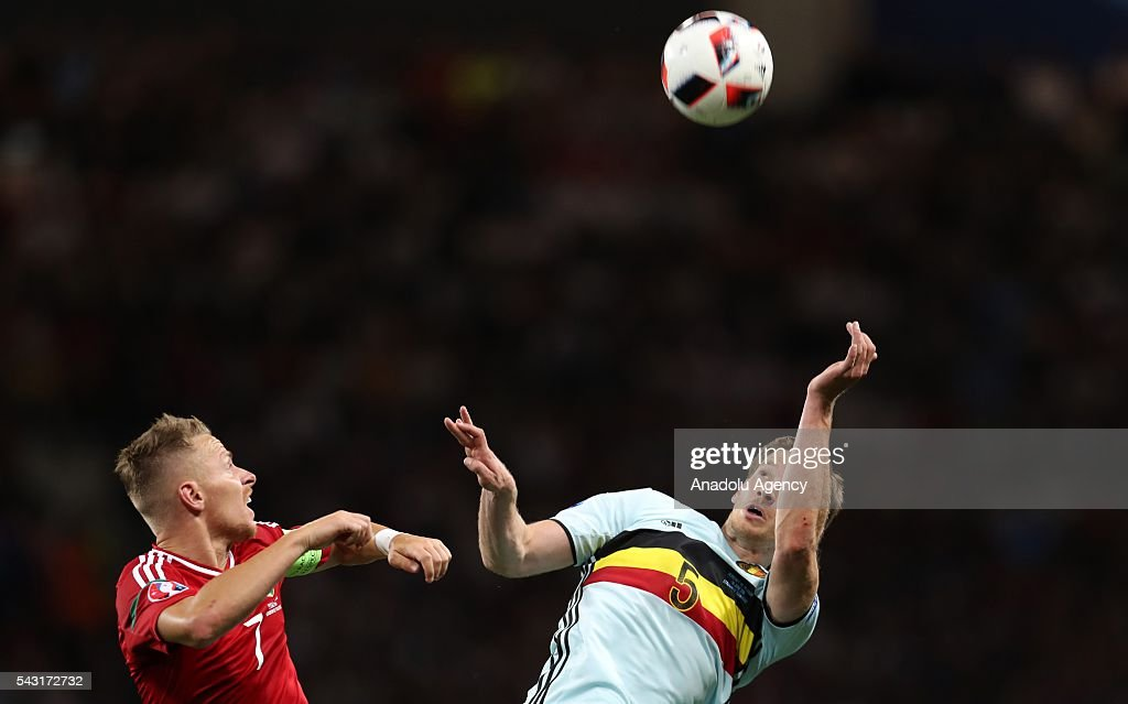 Balazs Dzsudzsak (7) of Hungary in action against Jan Vertonghen (5) of Belgium during the UEFA Euro 2016 round of 16 football match between Hungary and Belgium at Stadium Municipal in Toulouse, France on June 26, 2016.