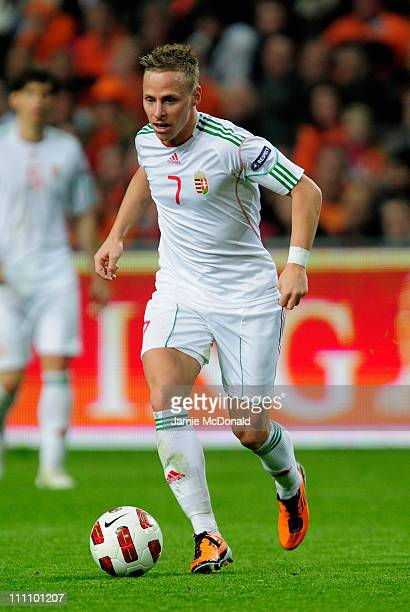 Balazs Dzsudzsak of Hungary in action during the Group E EURO 2012 Qualifier between Netherlands and Hungary at the Amsterdam Arena on March 29 2011...