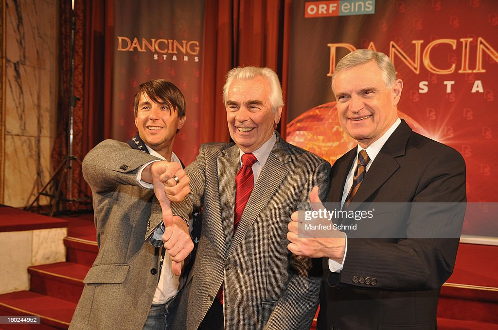 Balazs Ekker, Thomas Schaefer- Elmayer and Hannes Nedbal present the dance partners at a press conference during the eighth season of TV show 'ORF Dancing Stars 2013' on January 28, 2013 in Vienna, Austria.
