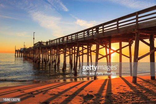 Balboa Pier in Orange County, California at sunset
