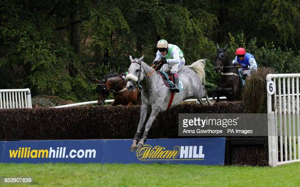 Balbriggan ridden by Richard Johnson on their way to victory in the Miller Howe Cavendish Cup at Cartmel Racecourse Cartmel Cumbria