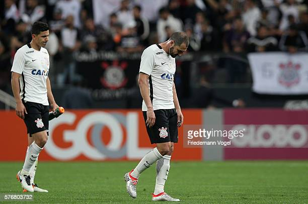 Balbuena and Danilo of Corinthians walks of during the match between Corinthians and Sao Paulo for the Brazilian Series A 2016 at Arena Corinthians...