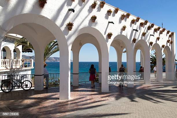 Balcon de Europa terrace in the center of the popular holiday resort town of Nerja Malaga province Spain