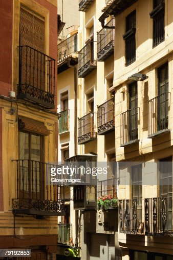 Balconies of buildings, Toledo, Spain : Stock Photo