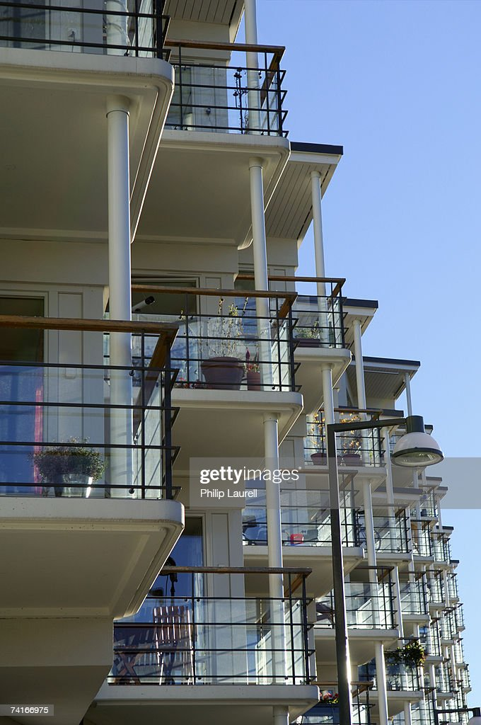 Balconies on a residential building stock photo getty images for Building balcony