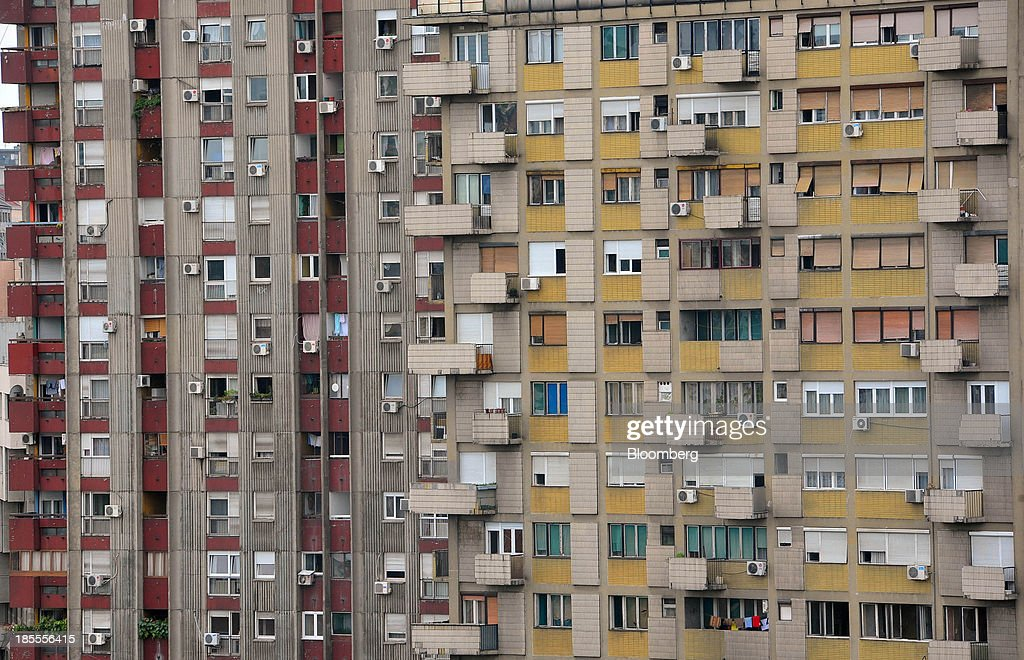 Balconies sit outside residential apartments in Belgrade, Serbia, on Monday, Oct. 21, 2013. Serbia's government revealed a salvo of measures to bring the public finance deficit and debt back under control by 2017 after the head of the largest coalition party warned the country was on the brink of insolvency. Photographer: Oliver Bunic/Bloomberg via Getty Images