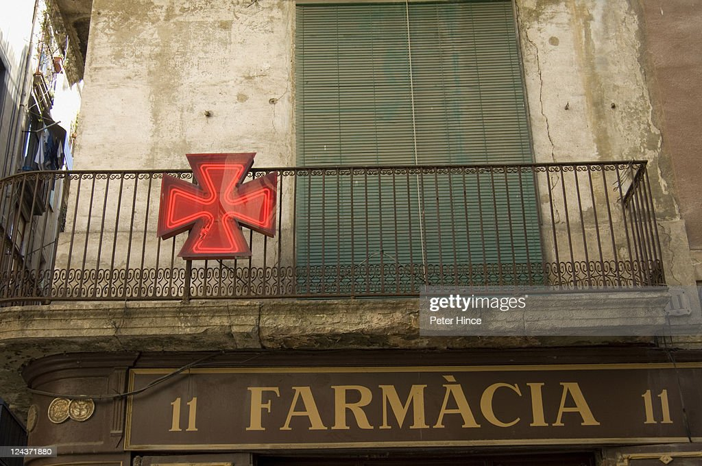 Balcony above old Pharmacy in Barcelona : Stock Photo
